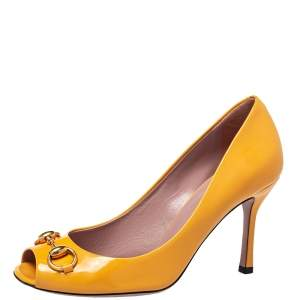 Gucci Yellow Patent Leather Horsebit  Peep Toe Pumps Size 37