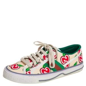 Gucci Beige Apple Print Canvas Tennis 1977 Low Top Sneakers Size 37.5