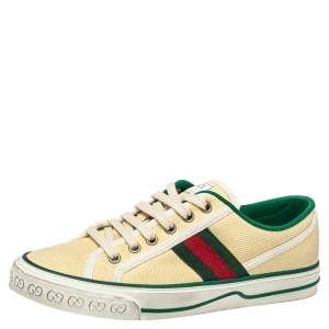 Gucci Cream Canvas Vulcan Sneakers Size 37.5