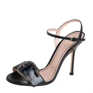 Gucci Black Leather Buckle Ankle Strap Sandals Size 36
