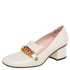 Gucci Cream Leather Sylvie Chain Embellished Pumps Size 38