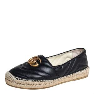 Gucci Black Leather GG Marmont Espadrilles Size 36.5
