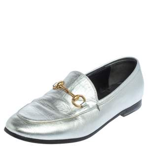 Gucci Silver Leather Jordaan Horsebit Slip On Loafers Size 37