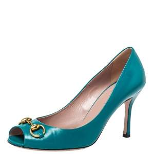 Gucci Teal Leather Horsebit Peep Toe Pumps Size 38.5