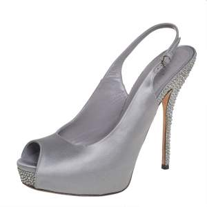 Gucci Grey Satin Crystal Embellished Slingback Sandals Size 38.5