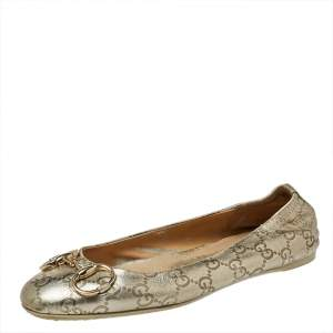 Gucci Metallic Gold Guccissima Leather Horsebit Ballet Flats Size 38