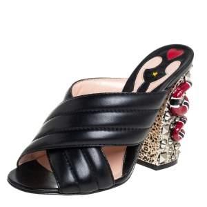 Gucci Black Quilted Leather Snake Embellished Slide Sandals Size 37