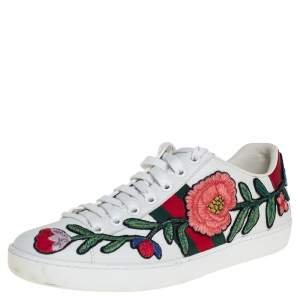 Gucci White Floral Embroidered Leather Ace Low Top Sneakers Size 36