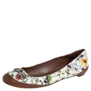 Gucci Multicolor Flora Canvas And Leather Horsebit Ballet Flats Size 40