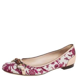Gucci Beige/Red Flora Canvas And Leather Bamboo Bit Ballet Flats Size 41