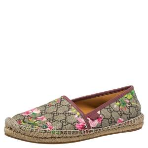 Gucci Beige/Burgundy Canvas And Leather Flora Slip On Espadrilles Flats Size 40.5