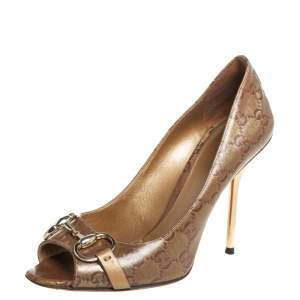Gucci Brown GG Crystal Horsebit Peep Toe Pumps Size 38.5