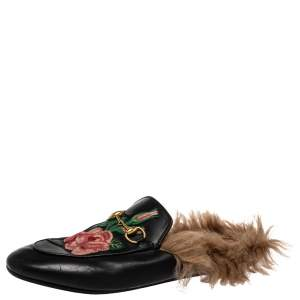 Gucci Black Leather And Fur Princetown Mule Sandals Size 37