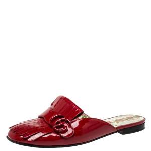 Gucci Red Patent Leather GG Marmont Fringe Mules Size 39.5