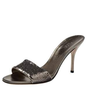 Gucci Metallic Sequins Open Toe Sandals Size 39