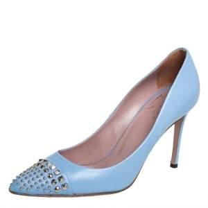 Gucci Blue Leather Studded Pointed Toe Pumps Size 38.5