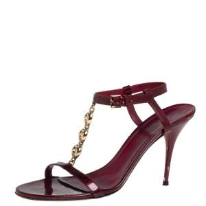 Gucci Maroon Patent Leather Chain T-Strap Ankle Strap Sandals Size 40