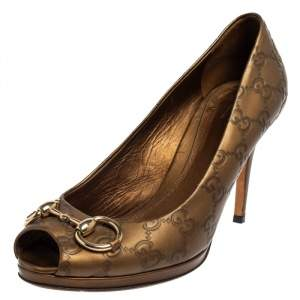 Gucci Bronze Guccissima Leather New Hollywood Horsebit Peep Toe Pumps Size 39