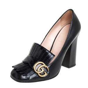 Gucci Black Leather GG Marmont  Pumps Size 38