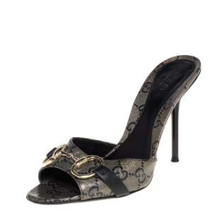 Gucci Black/Gold GG Coated Canvas Horsebit Sandals Size 36.5
