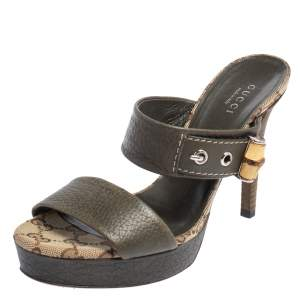 Gucci Olive Green Leather Bamboo Slide Sandals Size 36
