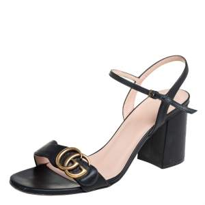 Gucci Black Leather GG Marmont Block Heel Ankle Strap Sandals Size 39