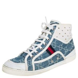 Gucci Blue GG Denim And Leather High Top Sneakers Size 39