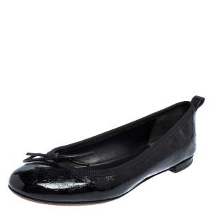 Gucci Black Microguccissima Leather Bow Detail Ballet Flats Size 36