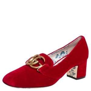 Gucci Red Velvet GG Marmont Victoire Block Heel Pumps Size 38