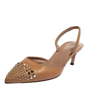 Gucci Beige Leather Studded Pointed Toe Slingback Sandals Size 38.5