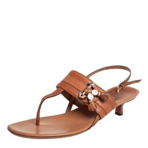 Gucci Brown Leather Marrakech Kitten Heel Ankle Strap Sandals Size 40