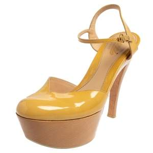 Gucci Yellow Patent Leather Platform Ankle Strap Sandals Size 38.5