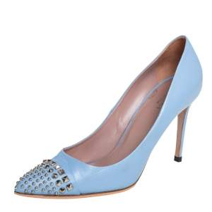 Gucci Blue Leather Studded Pointed Toe Pumps Size 38