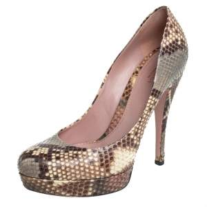Gucci Multicolor Python Lisbeth Platform Pumps Size 39