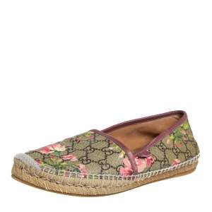 Gucci Beige GG Supreme Blooms Printed Canvas Espadrilles Size 38
