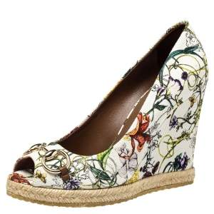 Gucci White Floral Print Canvas Horsebit Peep Toe Wedge Pumps Size 39.5