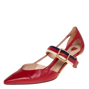 Gucci Red Leather Unia Mary Jane Pumps Size 36