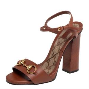 Gucci Brown Leather Horsebit Ankle Strap Sandals Size 38.5