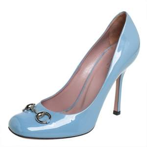Gucci Blue Patent Leather Horsebit Pumps Size 40