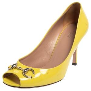 Gucci Yellow Patent Leather Horsebit Pumps Size 39