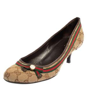 Gucci Beige GG Canvas Web Pumps Size 39