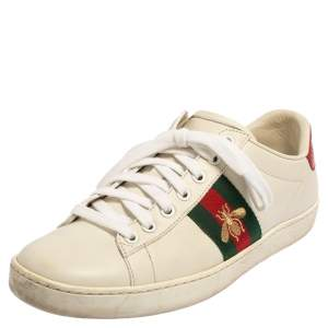 Gucci White Leather Ace Low Top Sneakers Size 38