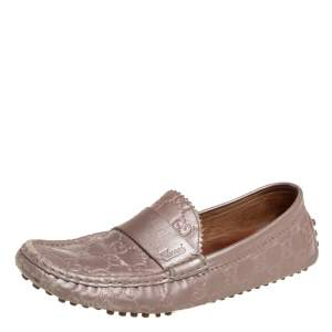 Gucci Blush Pink Guccissima Leather Slip On Loafers Size 40