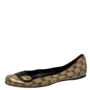 Gucci Beige GG Coated Canvas And Leather Trim Hysteria Ballet Flats Size 41