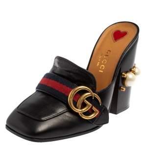 Gucci Black Leather GG Pearl Embellished Web Detail Loafer Mule Sandals Size 34