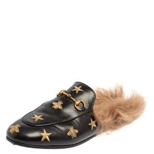 Gucci Black Bee And Star Embroidered Leather Fur Lined Princetown Horsebit Mules Size 38.5