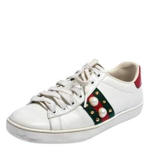 Gucci White Leather New Ace Web Pearl Embellished Low Top Sneakers Size 35