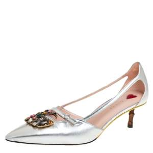 Gucci Silver Leather GG Crystal Bamboo Heel Pumps Size 39