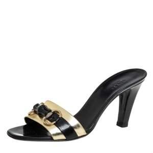 Gucci Black Patent Leather Horsebit Bamboo Slide Sandals  Size 40.5