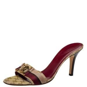 Gucci Beige/Brown GG Canvas Hysteria Slide Sandals Size 40.5